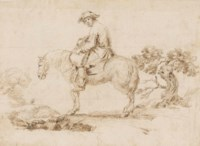 A man on a horse in a landscape