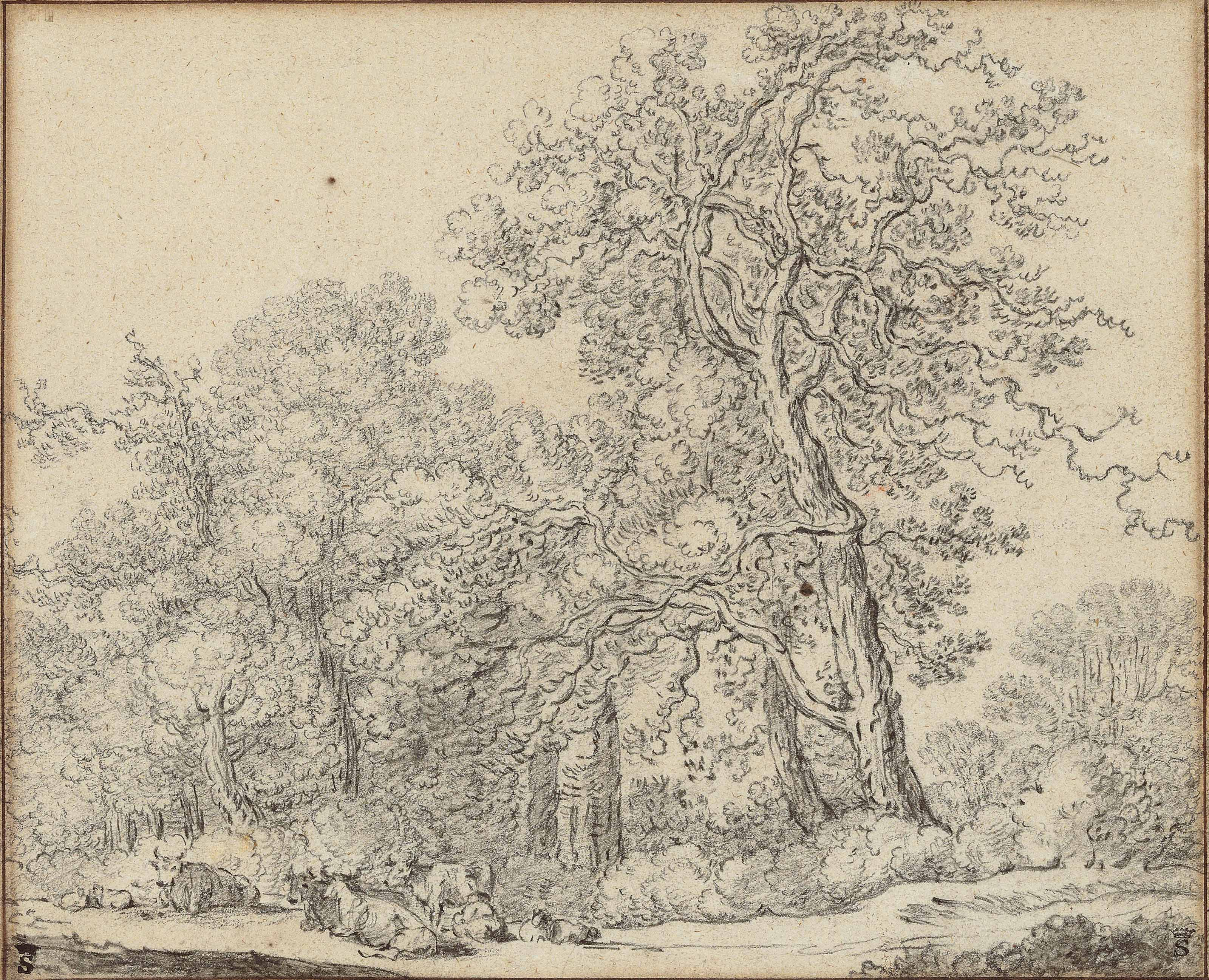A forest border with a woman milking a cow