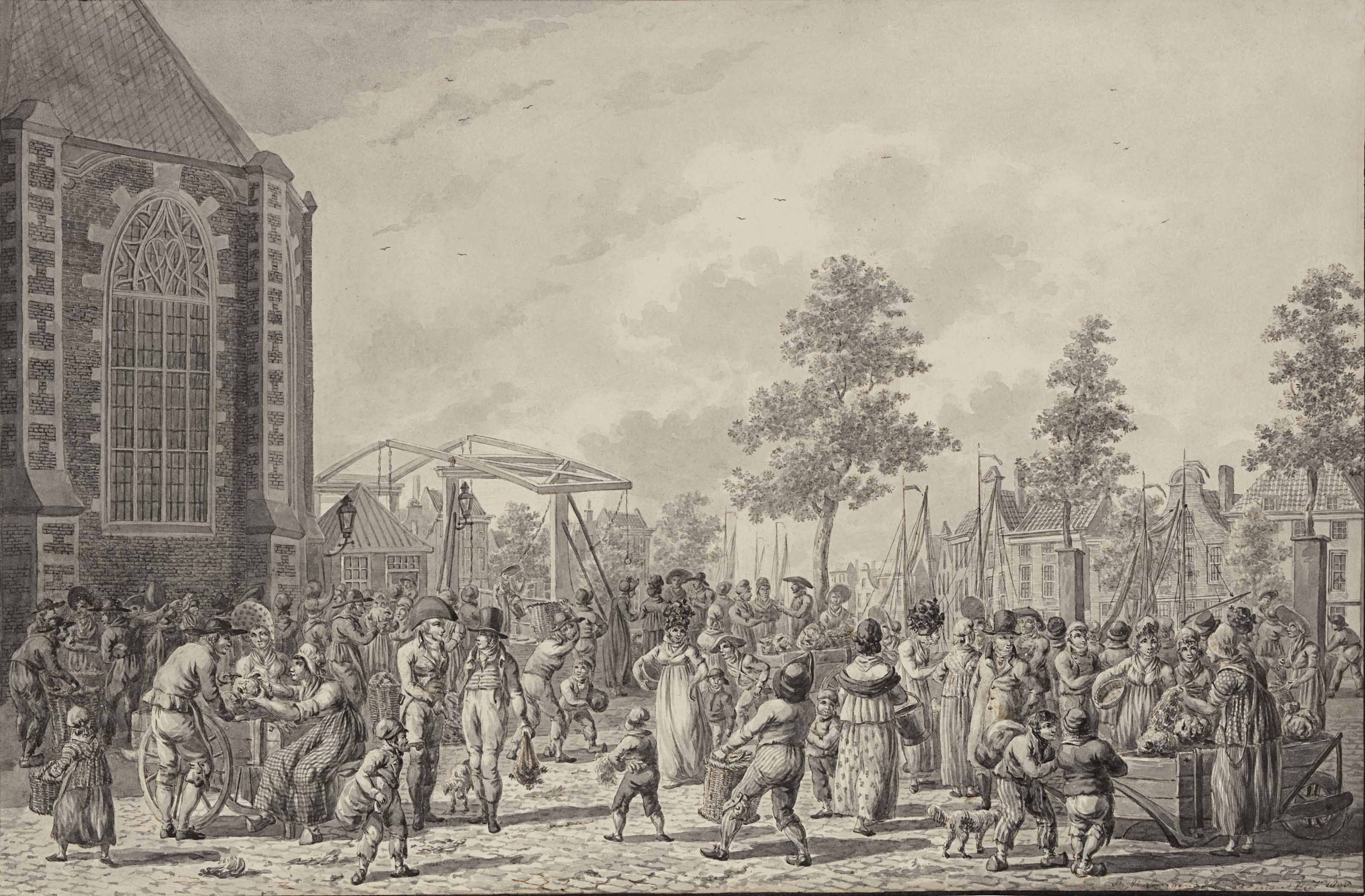 A market scene near the Laurenskerk, Rotterdam
