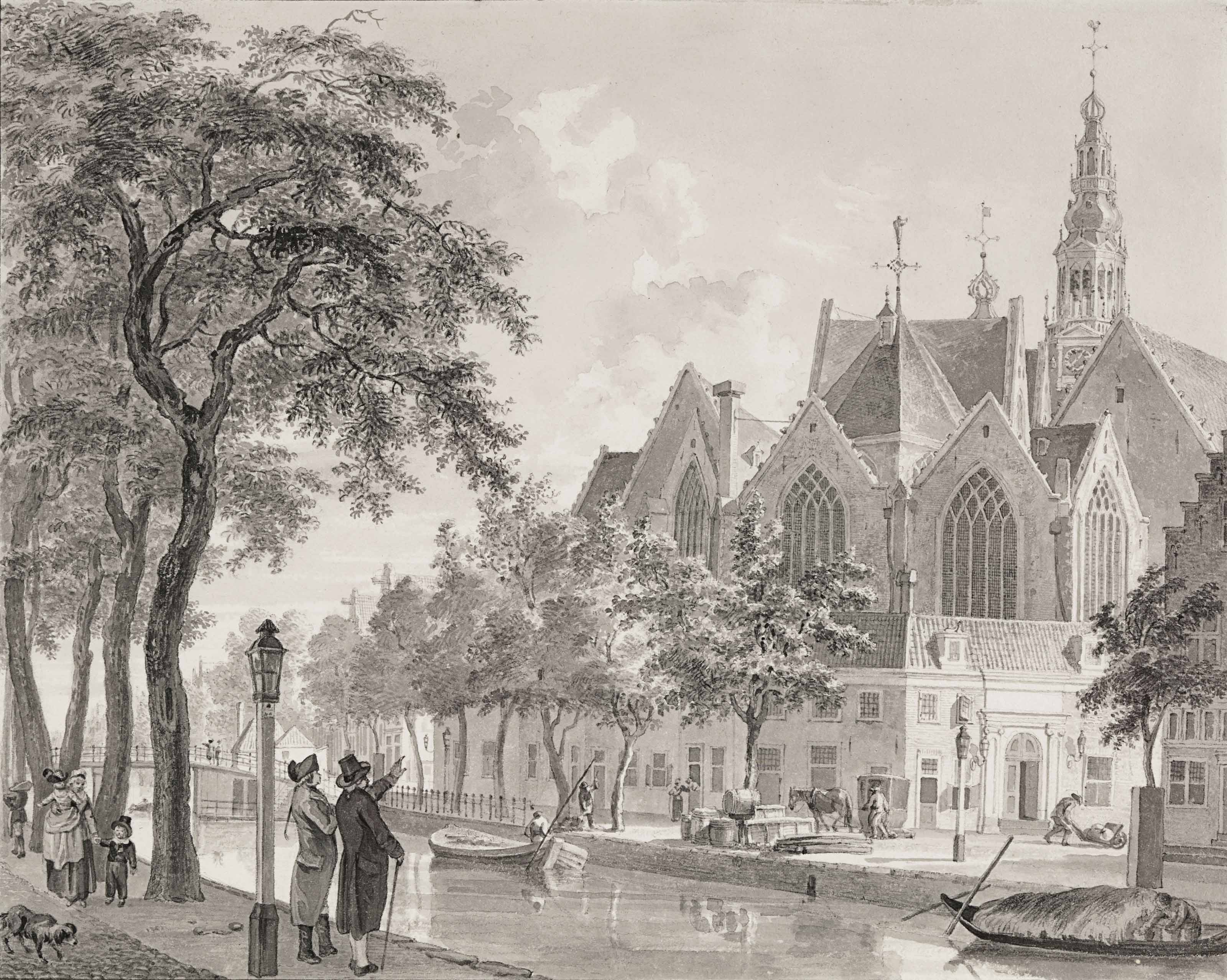 A view of the Oude Kerk, Amsterdam, seen from the Oudezijds Voorburgwal
