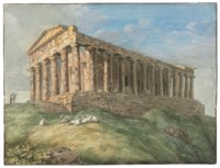 A view of the Temple of Concordia at Agrigento, with two figures and goats in the foreground