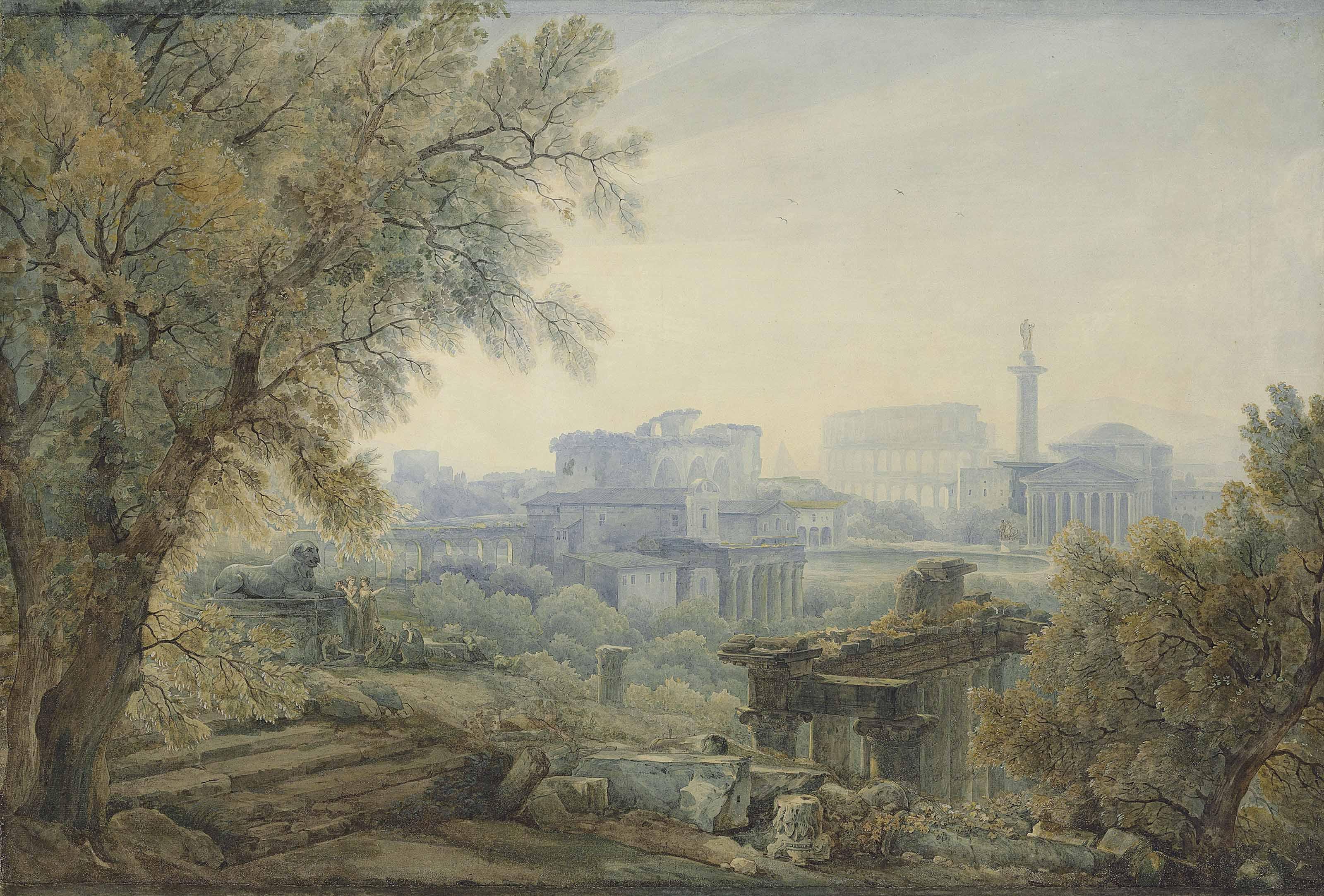 A capriccio with Roman architecture