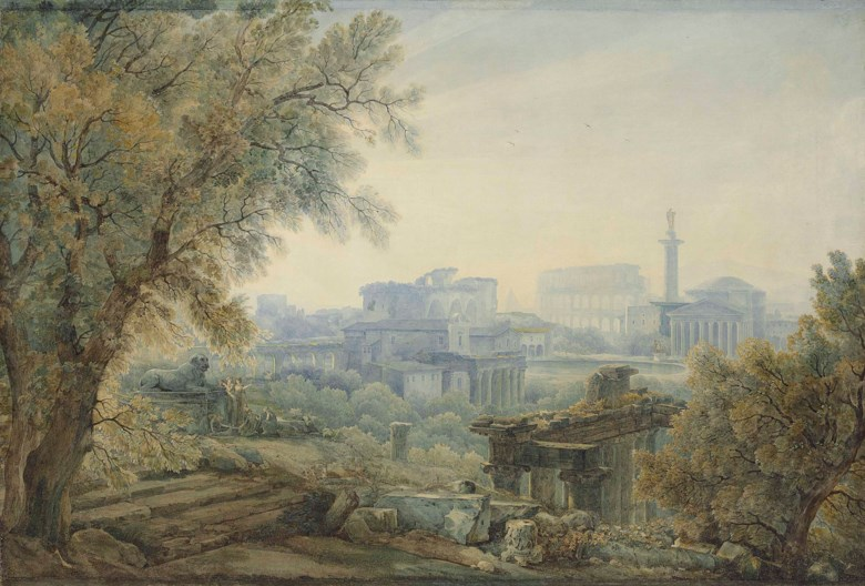 Abraham-Louis-Rodolphe Ducros (Yverdon 1748-1810 Lausanne), A Capriccio with Roman Architecture. c. 1784. Black chalk, pen and brown ink, watercolour, gum arabic. 27⅜ x 40  in (69.3 x 101.7 cm). Sold for £11,250 on 3 July 2018 at Christie's in London