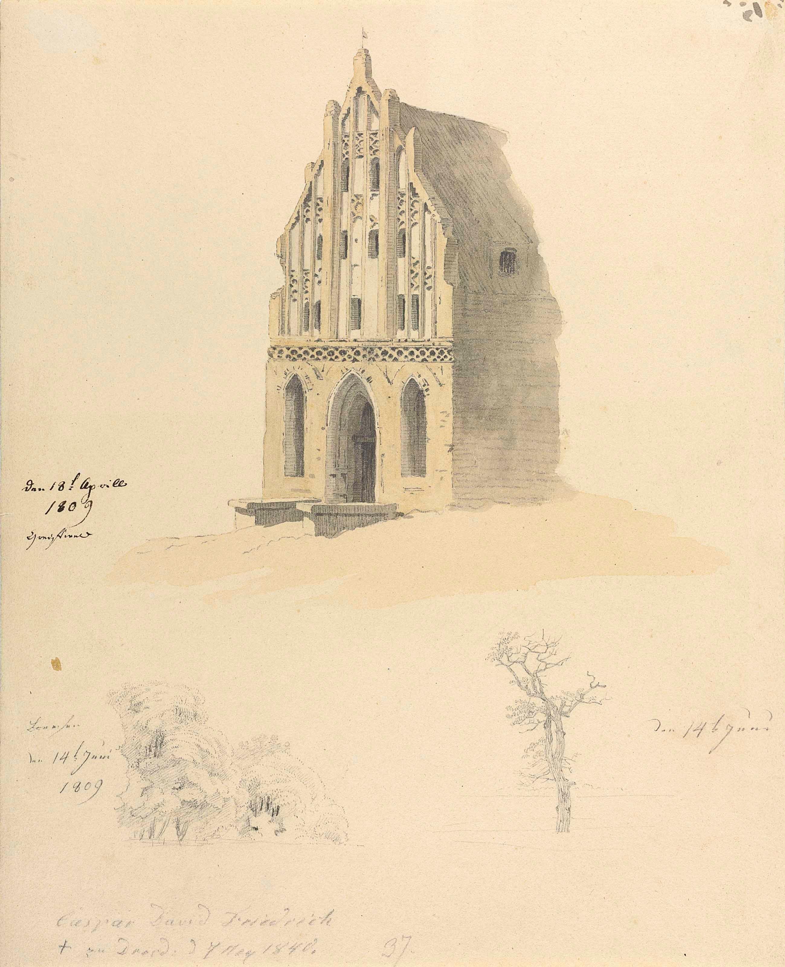 卡斯帕·大卫·弗里德里希(1774-1840),《歌德石砖建筑与两棵树的习作》,12⅛ x 9⅞吋(30.9 x 25.2公分)。此拍品于2018年7月3日在佳士得伦敦以212,500英镑成交。