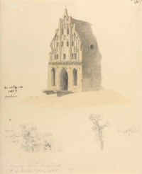 A Gothic brick building and two studies of trees