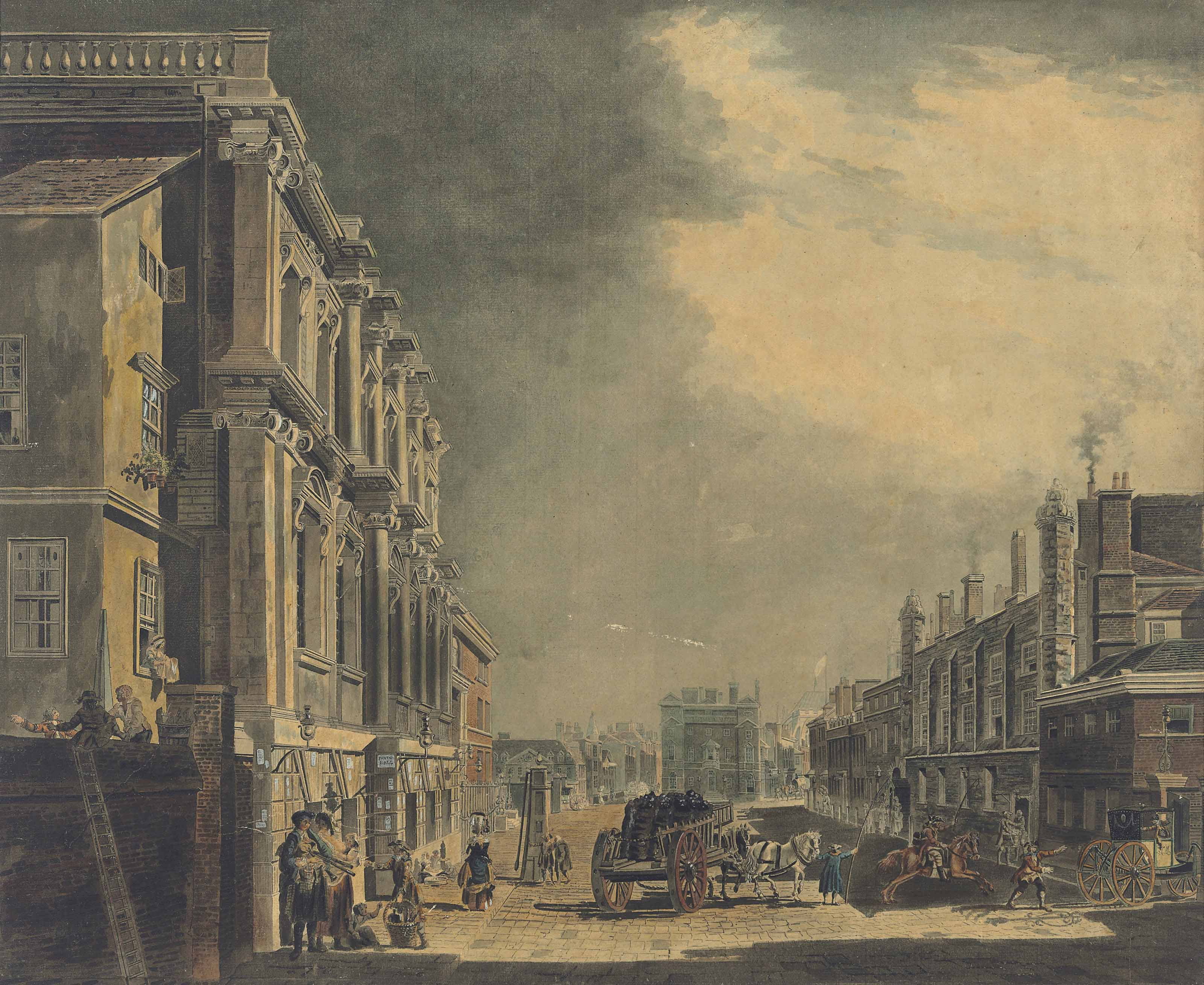 View of Whitehall, looking south towards Westminster Abbey