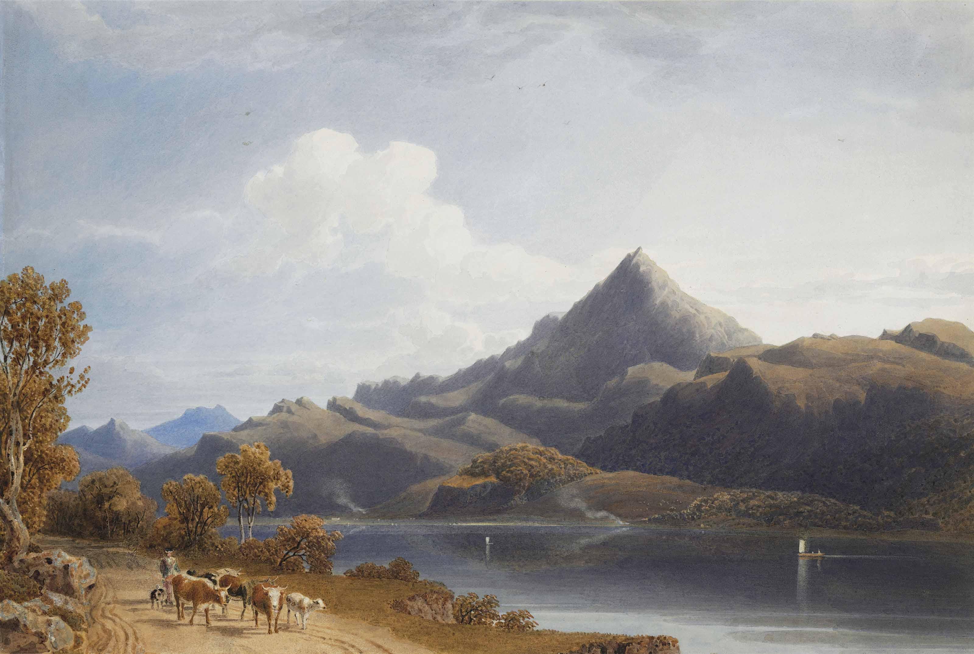 A cattle drover on the north shore of Loch Rannoch, Schiehallion behind