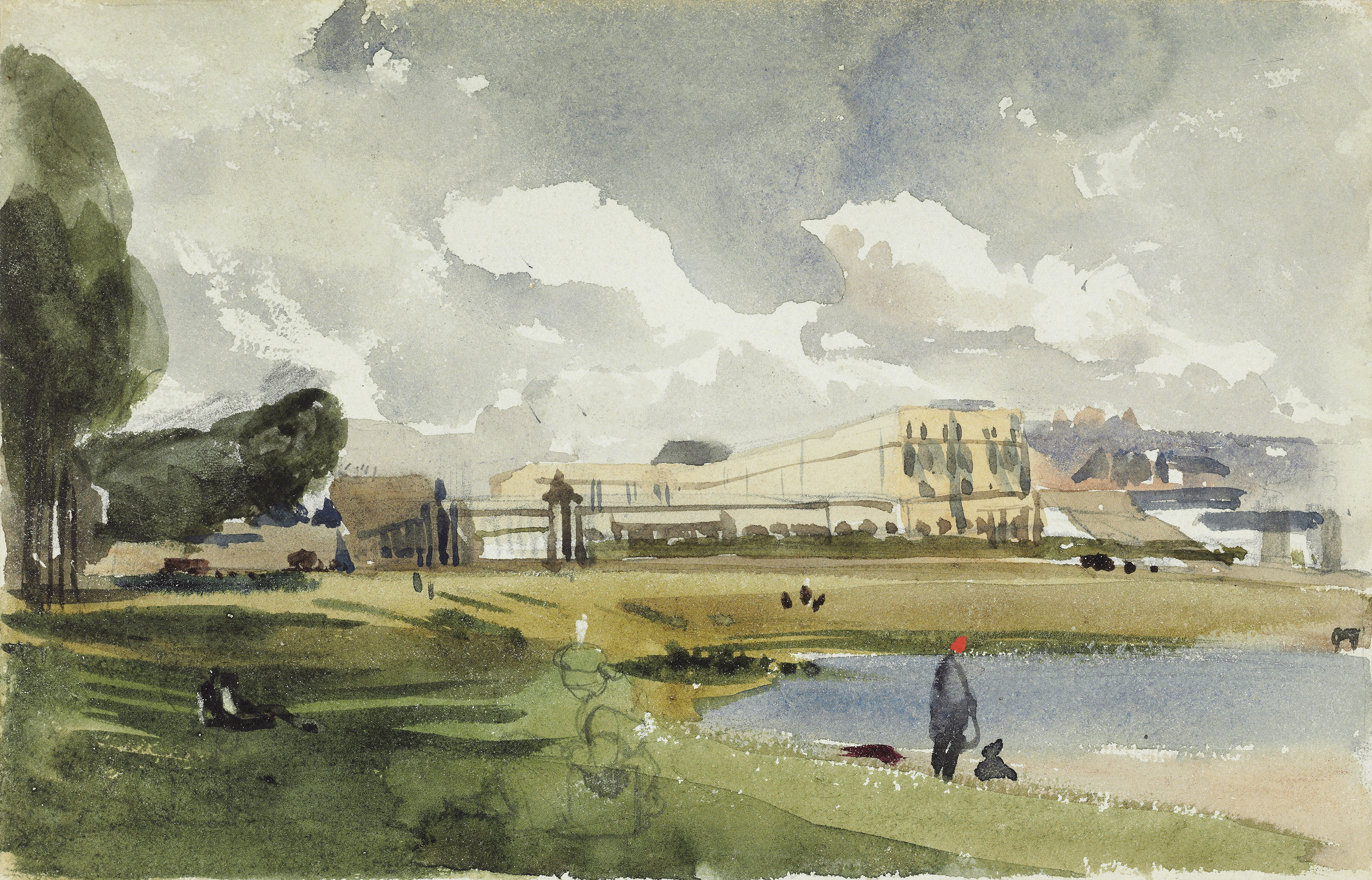 A view of Crystal Palace, Hyde Park, 1851; and A garden folly in the gothick style