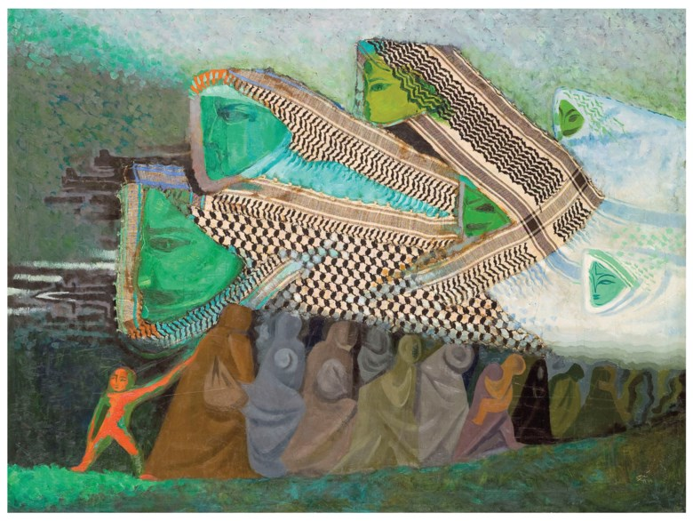 Naim Ismail (Syrian, 1930-1979), Al Fiddaiyoun ('Freedom Fighters'), painted in 1969. 39⅜ x 51¼  in (100 x 130 cm). Sold for £25,000 on 24 October 2018 at Christie's in London