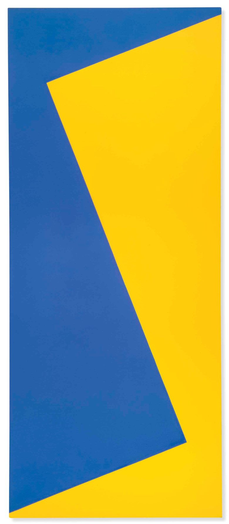 Leon Polk Smith (1906-1996), Correspondence Blue, Yellow Medium, painted in 1968. 72 x 30 in (182 x 76 cm). Estimate £30,000-50,000. Offered in Post-War to Present on 28 June 2018 at Christie's in London