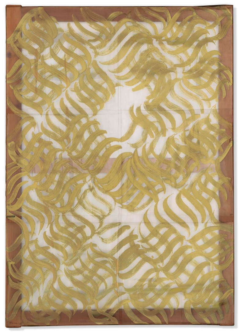 Carla Accardi (1924-2014), Segni oro (Gold Signs), executed in 1967-1976. 37¼ x 26½ in (94.6 x 67.3 cm). Estimate £50,000-70,000. Offered in Post-War to Present on 28 June 2018 at Christie's in London