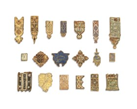 A GROUP OF NASRID ENAMELLED BELT-FITTINGS