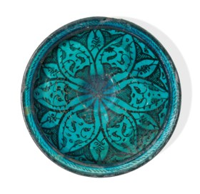 A RARE TURQUOISE-GLAZED POTTERY BOWL