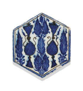 A MAMLUK HEXAGONAL POTTERY TILE
