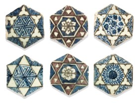 A GROUP OF SIX MAMLUK HEXAGONAL POTTERY TILES