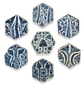 A GROUP OF SEVEN MAMLUK HEXAGONAL POTTERY TILES