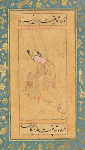 A YOUTH WITH A MONKEY AND A NASTA'LIQ CALLIGRAPHIC PANEL