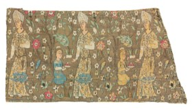 A SAFAVID FIGURAL SILK AND SILVER-THREAD LAMPAS PANEL