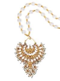 A GEM-SET AND ENAMELLED GOLD NOSE RING (NATH)