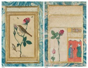 AN ILLUSTRATED AND ILLUMINATED OTTOMAN DOUBLE-SIDED ALBUM PAGE