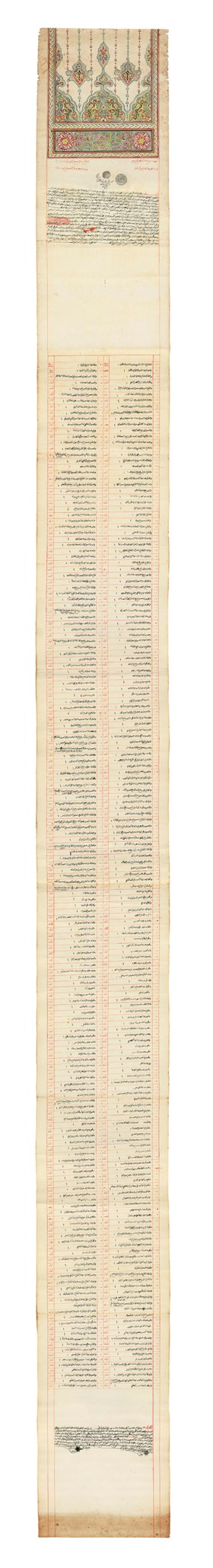 AN ILLUMINATED DOCUMENT RELATING TO DONATIONS TO MEDINA