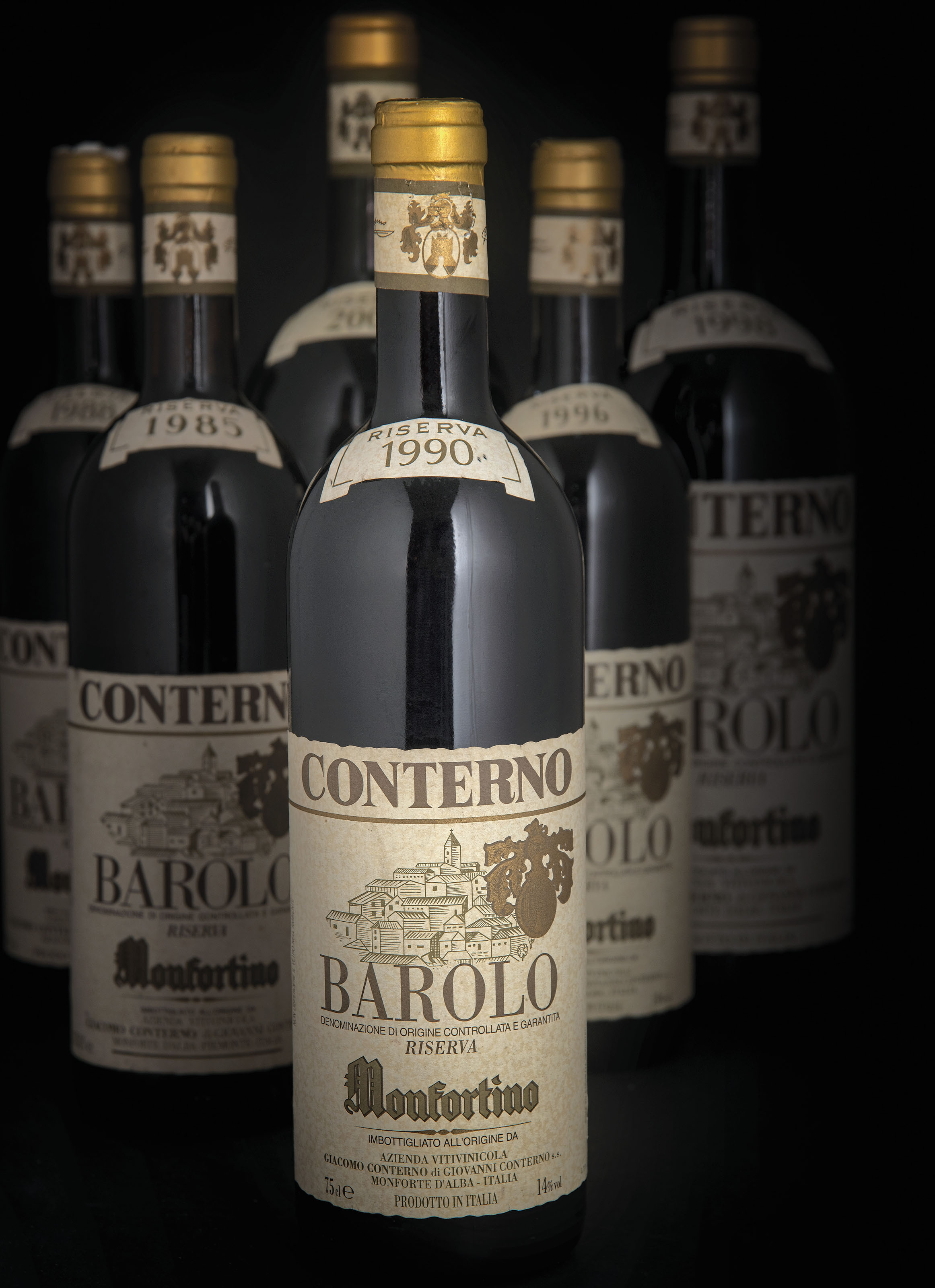 Giacomo Conterno, Barolo Riserva Monfortino  1985 Level: base of neck  (1) 1988 One slightly stained label. Levels: base of neck  (2) 1990 Level: base of neck  (1) 1993 Levels: base of neck  (2) 1995 Levels: base of neck  (2) 1996 Level: base of neck  (1) 1997 Level: base of neck  (1) 1998 Level: base of neck  (1) 1999 Level: base of neck  (1)