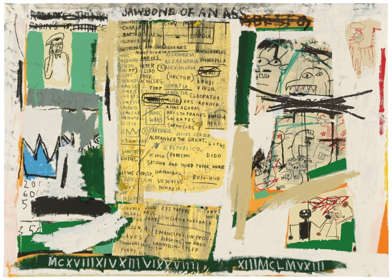 After Jean-Michel Basquiat (1960-1988), Jawbone of an Ass. Image, Sheet 1080 x 1524  mm. Estimate £30,000-50,000. Offered in Prints and Multiples on 20 September 2018 at Christie's in London