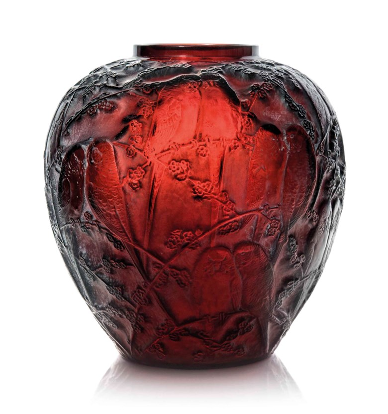 A Perruches vase, no. 876, designed 1919. 10⅛  in (25.8  cm) high. Estimate £12,000-18,000. This lot is offered in Lalique on 15 May at Christie's in London