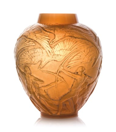 An Archers vase, no. 893, designed 1921. 11⅜  in (28.8  cm) high. Estimate £12,000-18,000. This lot is offered in Lalique on 15 May at Christie's in London