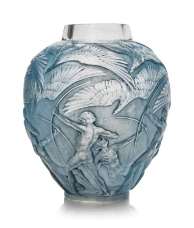 An Archers vase, No. 893, designed 1921. 10½  in (26.8  cm) high. Estimate £3,000-5,000. This lot is offered in Lalique on 15 May at Christie's in London