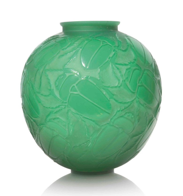 A Gros Scarabées vase, No. 892, designed 1923. 11½  in (29  cm) high. Estimate £25,000-35,000. This lot is offered in Lalique on 15 May at Christie's in London