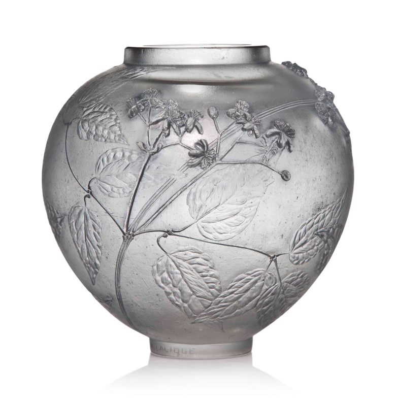 A unique Clématites cire perdue vase, no. CP 232, designed 1920. 6⅜  in (16.3  cm) high. Sold for £56,250 in Lalique on 15 May at Christie's in London
