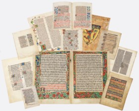 A GROUP OF ILLUMINATED LEAVES AND FRAGMENTS, in Latin, manus