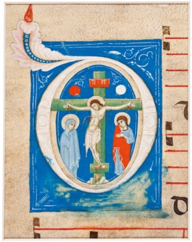 THE CRUCIFIXION, initial 'D' cut from an illuminated choirbo