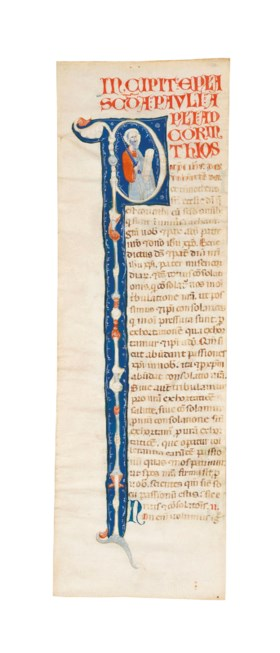 ST PAUL, historiated initial 'P' cut from an illuminated Bib