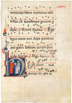 ST MARTIN AND THE BEGGAR, historiated initial 'H' on a leaf