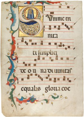 THE TRINITY ADORED BY ANGELS, historiated initial 'S' on a l