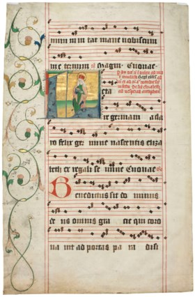 ST ELIZABETH OF THURINGIA, historiated initial 'L' on a leaf