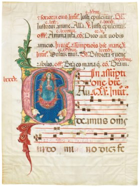 ASSUMPTION OF THE VIRGIN, illuminated initial 'G' on a leaf