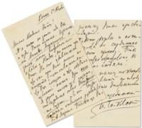 TCHAIKOVSKY, Pyotr Ilyich (1840-1893). Autograph letter signed ('P Tchaikovsky'; in Cyrillic) to Yekaterina Laroche ('Madame Katou!'), Klin, 1 August [1893].