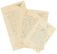 GANDHI, Mohandas Karamchand (1869-1948). Two autograph letters signed ('M.K. Gandhi' and 'M.K.G.') and one letter signed ('M.K. Gandhi') to [Edmund] Gibson, Anand Kunj, Rajkot, 2 and 6 March 1939.