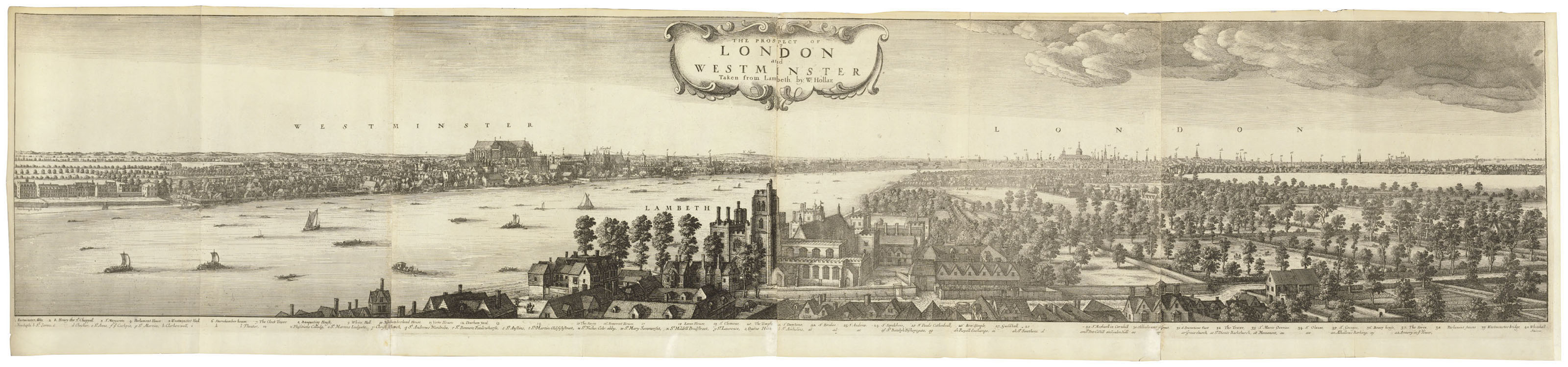 HOLLAR, Wenceslaus (1607-1677). The Prospect of London and Westminster, taken from Lambeth. [London: after 1697, probably early 18th century].