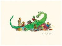 Dragon reading to a group of children