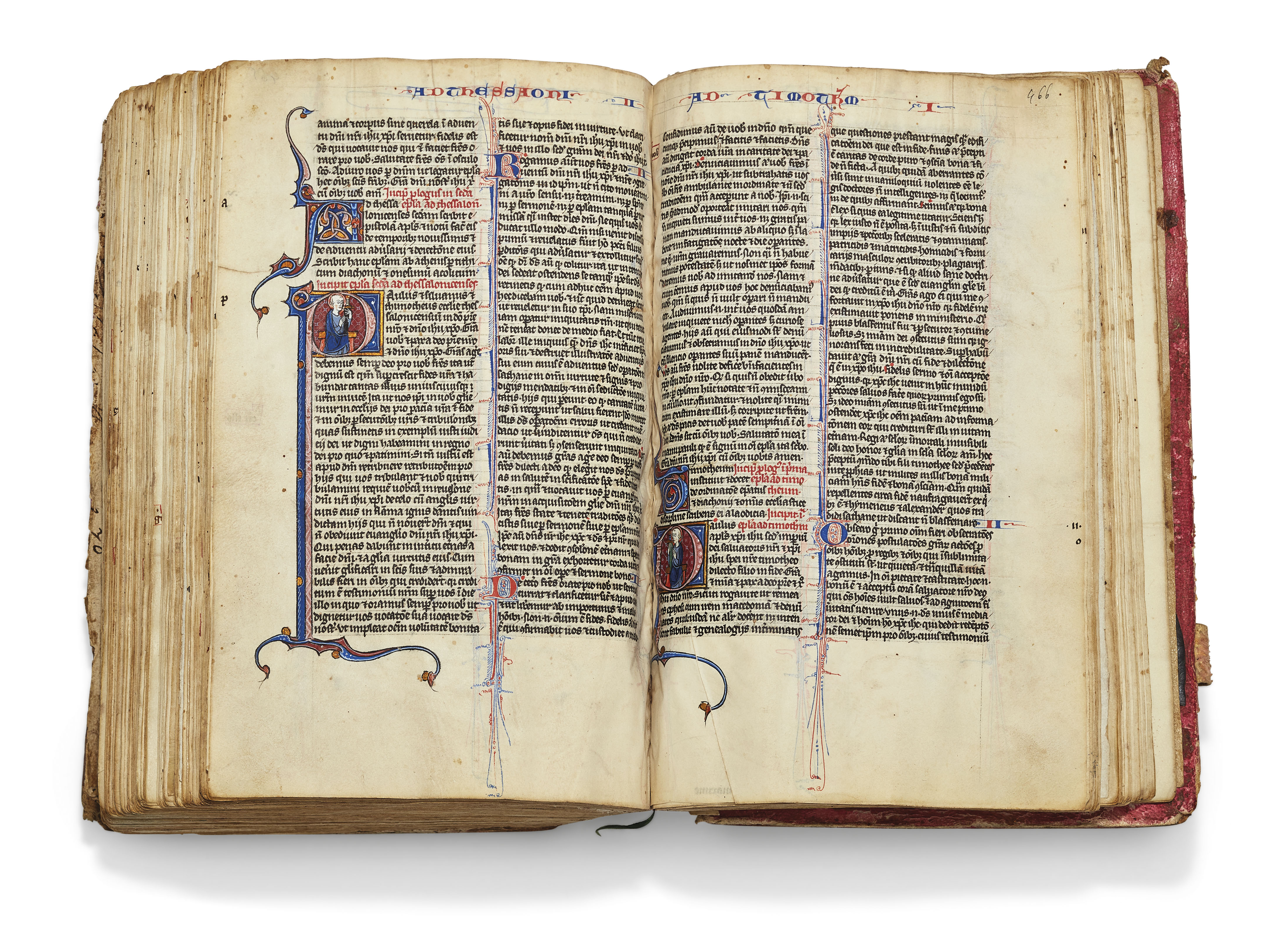 BIBLE in the Latin translation of St Jerome with the customary prologues and the Interpretation of Hebrew Names, illuminated manuscript on vellum [Paris, 1260s]