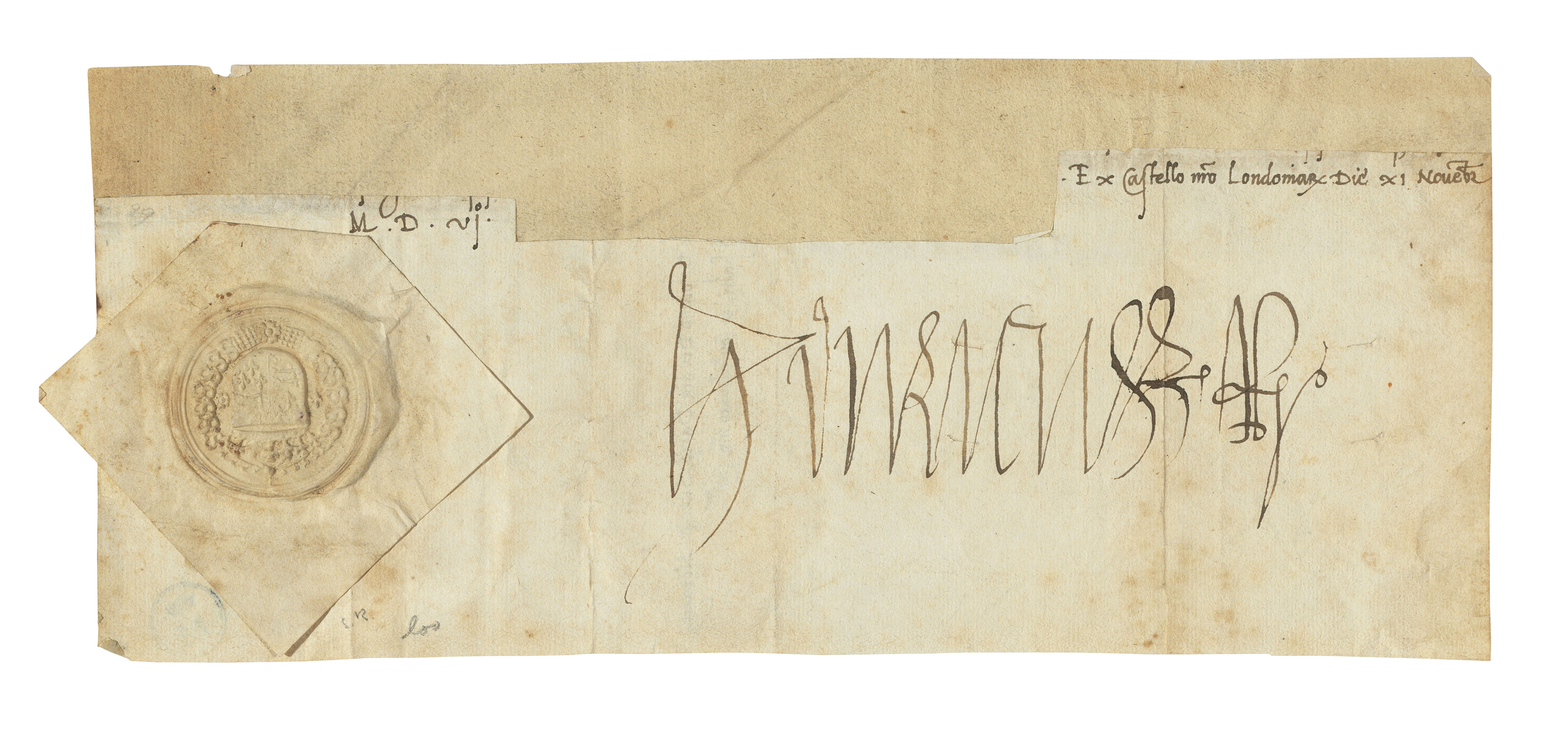 HENRY VII (1457-1509), King of England. Autograph signature ('Henricus R[ex]'), cut from a letter to King John of Denmark and Norway, Tower of London ('Ex Castello n[ost]ro Londoniarum'), 11 November 1506.
