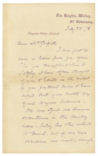ELIOT, George (pseudonym of Mary Anne Evans, 1819-1880). Autograph letter signed ('M Evans') to [the Reverend] Mr [William] Griffiths, The Heights, Witley, 25 July 1878.