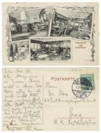 KAFKA, Franz (1883-1924). Autograph postcard signed ('Franz') to Max Brod, [postmarked Halberstadt], 7 July 1912.