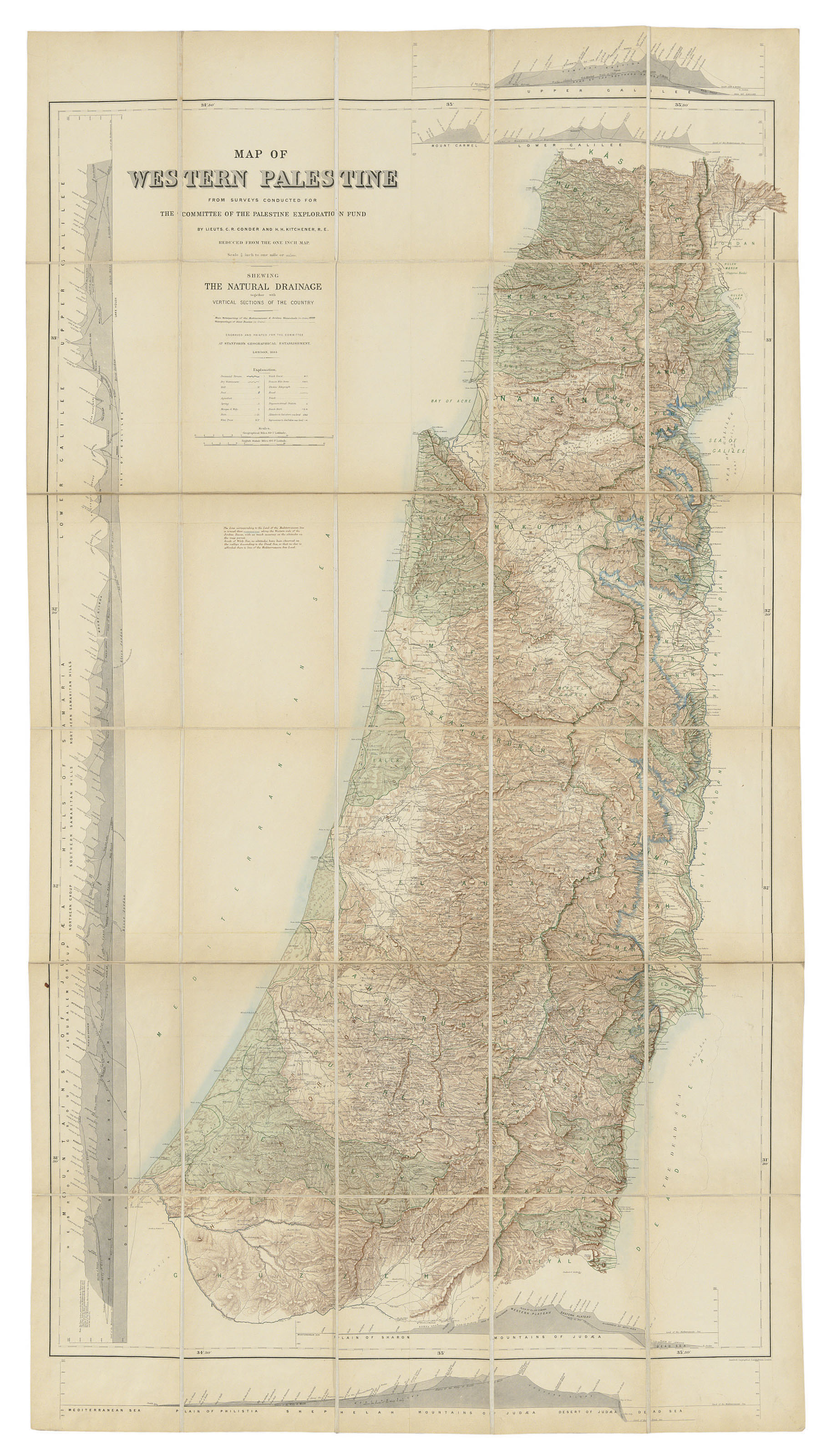 Sections Of London Map.Conder C R And H H Kitchener Map Of Western Palestine