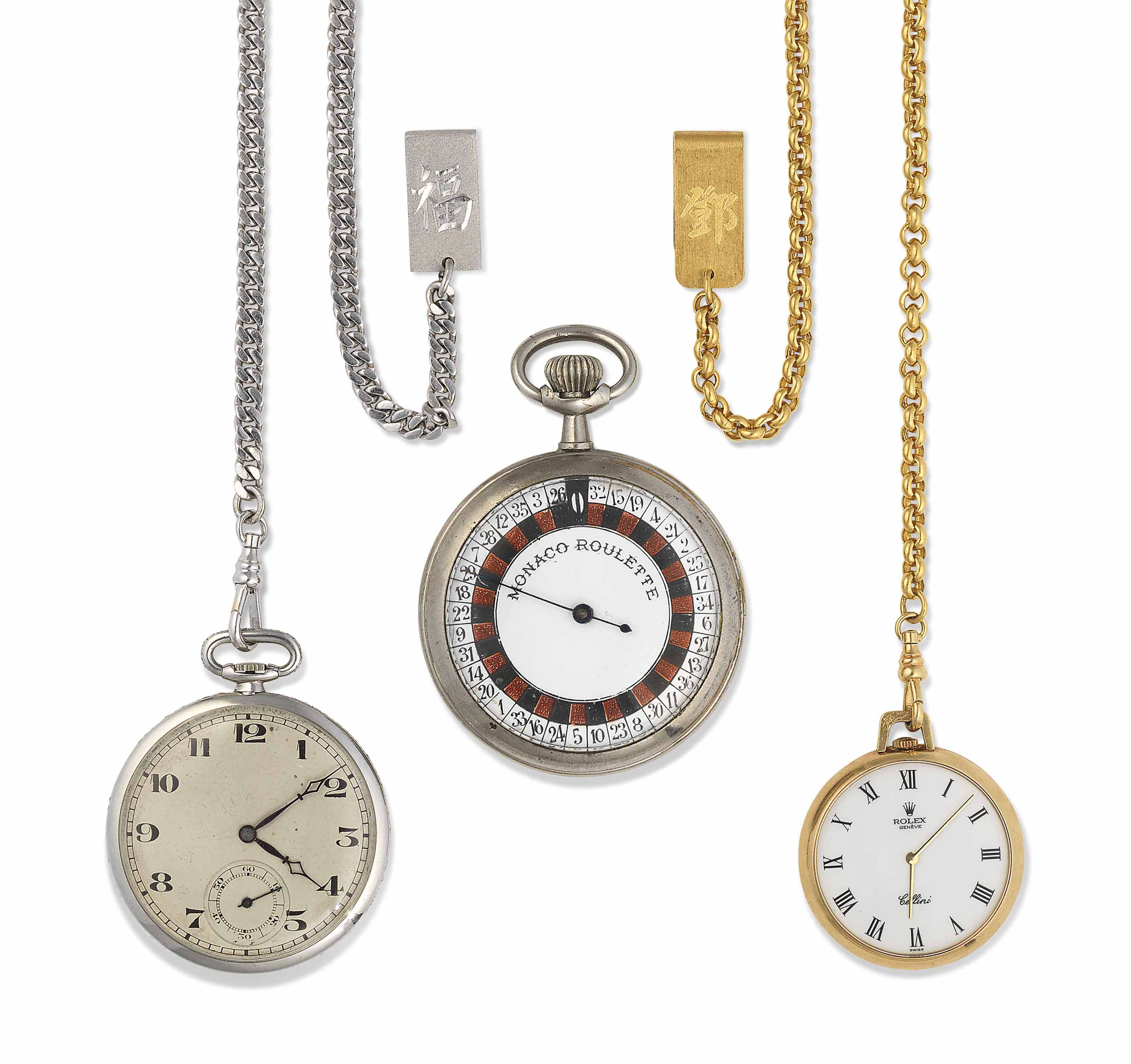 A PLATINUM AND DIAMOND POCKET WATCH