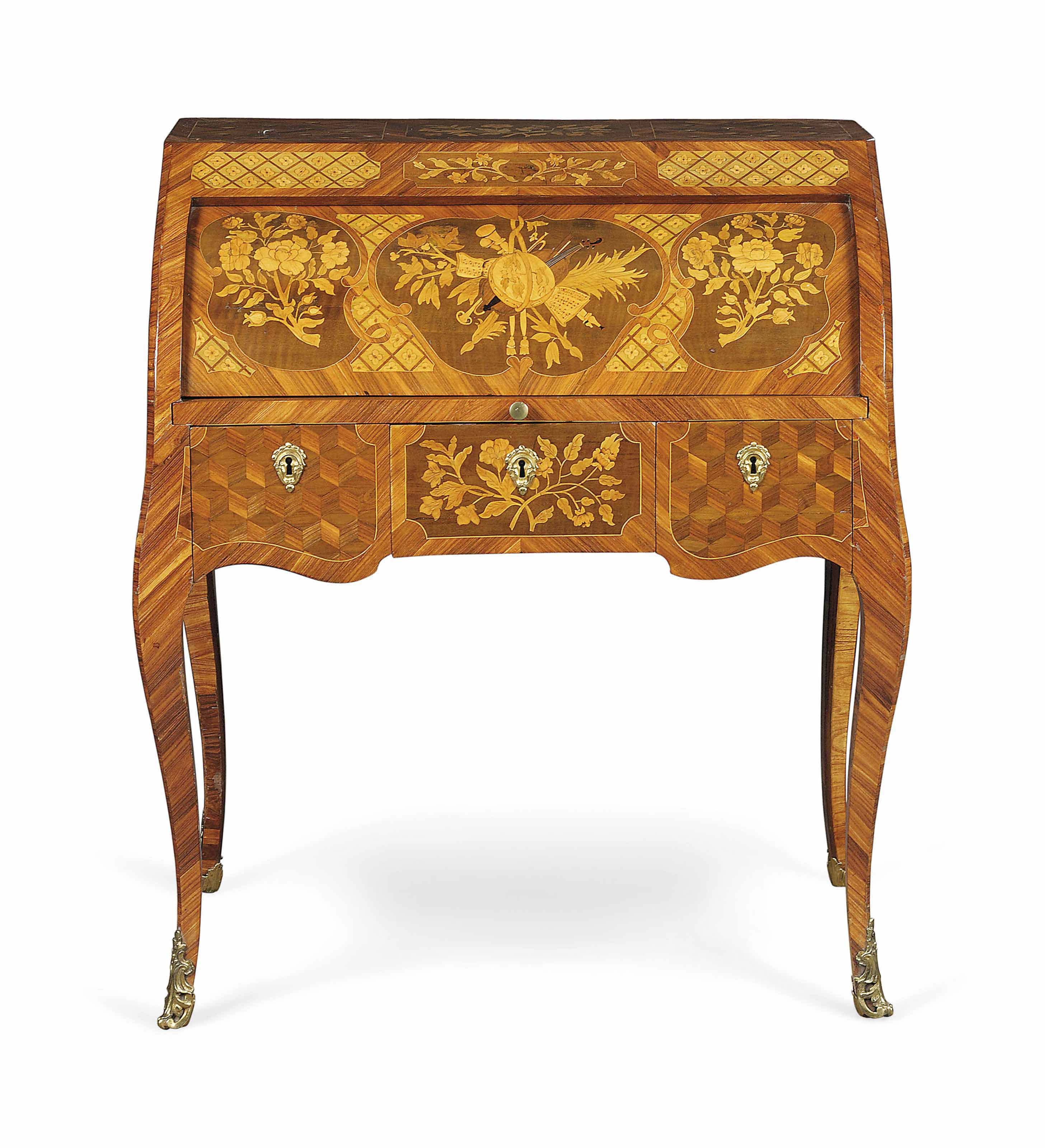 A LOUIS XV ORMOLU-MOUNTED TULIPWOOD, KINGWOOD, AMARANTH, GREEN-STAINED WOOD MARQUETRY AND PARQUETRY BUREAU À CYLINDRE